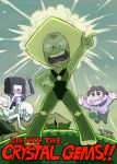 +_+ 1boy 4girls amethyst_(steven_universe) blush english garnet_(steven_universe) green_hair green_skin looking_at_viewer multiple_girls pearl_(steven_universe) peridot_(steven_universe) steven_quartz_universe steven_universe sweat