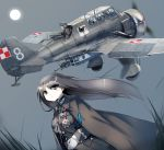 1girl 3boys airplane belt cape flying fourragere gloves goggles grey_eyes grey_hair gun helmet long_hair looking_to_the_side medal moon multiple_boys night pilot polish_air_force_checkerboard propeller rifle samazuka_mashiro simple_background uniform weapon wind world_war_ii