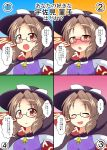 1girl blush brown_hair cape clothes_writing commentary_request confession glasses highres mikazuki_neko open_mouth semi-rimless_glasses smile touhou translation_request usami_sumireko