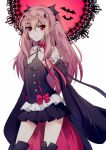 1girl bangs bare_shoulders bat black_dress black_legwear boots detached_sleeves dress krul_tepes lei_yaya long_hair looking_at_viewer owari_no_seraph pink_hair pointy_ears red_eyes solo two_side_up vampire very_long_hair