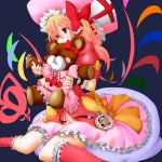 1girl absurdres adapted_costume blonde_hair bow colored cosplay dress flandre_scarlet hat highres laevatein pocket_watch red_eyes remilia_scarlet remilia_scarlet_(cosplay) simple_background sitting solo stuffed_animal stuffed_toy tears teddy_bear touhou tsukajin tsuruoka_masayoshi_to_junjou_romantica_2 wariza watch wings