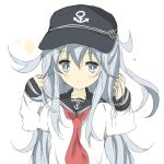 1girl anchor_symbol blue_eyes core_(mayomayo) flat_cap hands_in_hair hat hibiki_(kantai_collection) kantai_collection long_hair neckerchief school_uniform serafuku silver_hair simple_background solo