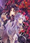 2boys asymmetrical_hair black_feathers black_hair black_wings blurry branch cardcaptor_sakura creator_connection demon_boy depth_of_field detached_sleeves feathered_wings fingernails flower half-closed_eyes highres holding interlocked_fingers koryu_(wish) lavender_hair long_fingernails long_hair multiple_boys nail_polish pointy_ears short_hair slit_pupils smirk white_wings wings wish yue_(ccs) zenyu