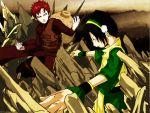 avatar_the_last_airbender black_hair crossover gaara naruto redhead toph_bei_fong