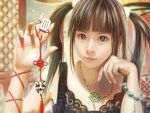 brown_eyes brown_hair eat face hands highlights highres jewelry lips long_hair mahjong mask multicolored_hair necklace original realistic twintails