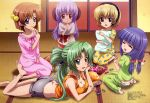 absurdres candy feet food furude_rika hairband hanyuu highres higurashi_no_naku_koro_ni horns houjou_satoko megami multiple_girls official_art pajamas panties pillow pocky potato_chips print_panties ryuuguu_rena scrunchie sonozaki_mion strawberry_panties strawberry_print tank_top underwear yahiro_yuuko