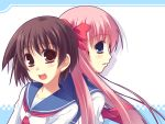 haramura_nodoka miyanaga_saki pink_hair saki seifuku