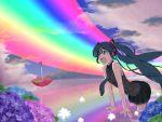 aqua_hair flower happy hatsune_miku hydrangea long_hair minazuki_isami open_mouth rainbow sky solo twintails umbrella very_long_hair vocaloid
