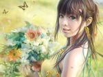 butterfly eat flower green_eyes long_hair realistic