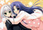 2girls blue_hair hug multiple_girls pajamas silver_hair sora_(stellar_theater) stars stellar_theater suzuhira_hiro