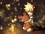 barefoot bear blonde_hair child hooded_jacket itaru kagamine_len lamp male short_hair stuffed_animal stuffed_toy vocaloid young
