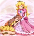 2girls barefoot blonde_hair crown earring elbow_gloves gown nintendo princess_daisy princess_peach sigurdhosenfeld sleeping super_mario_bros.