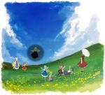 antennae blonde_hair blue_eyes blue_hair bow brown_eyes brown_hair cape cat_tail chen cirno closed_eyes cloud daiyousei dress duplicate fairy_wings flower flying fox_tail from_behind green_eyes green_hair hair_bow ice kazami_yuuka lying meadow minakata_sunao multiple_girls multiple_tails mystia_lorelei outstretched_arms plaid plaid_skirt plaid_vest red_eyes rumia seiza shadow side_ponytail sitting skirt skirt_set sky tail team_9 touhou umbrella waving wings wriggle_nightbug yakumo_ran