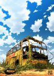 cactus cloud clouds flower motor_vehicle no_humans original overgrown ruins scenery sky tire tokyogenso vehicle