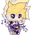 blonde_hair blue_eyes chibi crazy_developers fang instrument kagamine_len keyboard keyboard_(instrument) male musical_note necktie short_hair shorts smile solo vocaloid