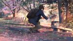 1boy animal backpack bag bench black_bag blue_footwear blue_jacket brown_hair cat commentary day facing_away fence from_behind grass grey_pants hands_up heel_up holding holding_phone jacket jiwataneho leaf long_sleeves original outdoors pants phone scenery school_uniform shoes short_hair sneakers solo squatting sunlight taking_picture tree