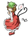 brown_eyes brown_hair cat_ears cat_tail chen earrings fechirin hat jewelry looking_back multiple_tails musical_note short_hair tail touhou