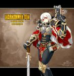 albino armor belt bolter book cape chain dual_wielding explosive fleur_de_lis grenade gun korean loincloth ornate purity_seal red_eyes short_hair sisters_of_battle skull solo sword warhammer_40k weapon white_hair