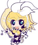 blue_eyes crazy_developers fang hair_ornament hair_ribbon hairclip headphones kagamine_rin microphone musical_note ribbon short_hair skirt smile vocaloid