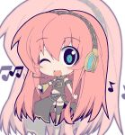 blue_eyes boots chibi crazy_developers headphones headset long_hair megurine_luka midriff musical_note navel pink_hair smile solo thigh-highs thighhighs vocaloid wink zoom_layer