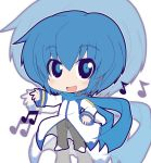 blue_eyes blue_hair chibi crazy_developers fang headphones headset kaito male musical_note scarf short_hair smile solo vocaloid