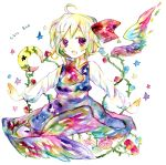 blonde_hair colorful crescent flower hair_ribbon legomaru necktie outstretched_arms red_eyes ribbon rumia short_hair solo spread_arms touhou traditional_media watercolor watercolor_(medium)