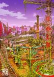 cityscape crescent_moon highres moon night no_humans overgrown roller_coaster ruins scenery star tokyogenso translated