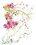 flandre_scarlet flower highres legomaru musical_note touhou traditional_media watercolor watercolor_(medium) wings