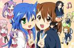 akiyama_mio animal_ears bad_id black_hair blue_eyes blue_hair blush brown_hair cat_ears cheek_to_cheek closed_eyes crossover glasses green_eyes hiiragi_kagami hiiragi_tsukasa hirasawa_yui izumi_konata k-on! kotobuki_tsumugi long_hair lucky_star maruki_(punchiki) multiple_girls musical_note nakano_azusa pink_hair purple_hair school_uniform star tail tainaka_ritsu takara_miyuki thigh-highs thighhighs twintails v wink
