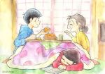 1girl 2boys black_hair food fruit glasses grey_hair hair_bun kotatsu mandarin_orange matsuno_karamatsu matsuno_matsuyo matsuno_osomatsu mother_and_son multiple_boys osomatsu-kun osomatsu-san peeling sleeping sleeves_rolled_up smile table traditional_media twitter_username under_kotatsu under_table watercolor_(medium) yunomi