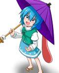 1girl :d blue_eyes blue_hair blush geta heterochromia highres juliet_sleeves karakasa_obake katsumi5o long_sleeves looking_at_viewer open_mouth puffy_sleeves red_eyes short_hair skirt smile solo tatara_kogasa touhou tunic umbrella