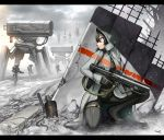 1girl black_eyes black_hair gia gloves gun hood hoodie mecha original rifle rubble ruins short_hair solo weapon