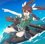 1girl black_gloves bowtie brown_eyes brown_hair fang gloves hair_between_eyes hair_ribbon kantai_collection long_hair machinery nanashino open_mouth pelvic_curtain pointing remodel_(kantai_collection) ribbon side_slit single_elbow_glove single_thighhigh solo thigh-highs tone_(kantai_collection) turret twintails water