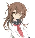 1girl anchor_symbol brown_eyes brown_hair core_(mayomayo) hair_down inazuma_(kantai_collection) kantai_collection long_hair neckerchief school_uniform serafuku smile solo