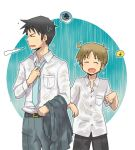 2boys belt black_hair blue_necktie breath brown_hair buttons closed_eyes collared_shirt eyebrows eyebrows_visible_through_hair male_focus multiple_boys musical_note necktie nichijou rain sakurai_makoto_(nichijou) shirt short_hair short_sleeves speech_bubble spoken_musical_note spoken_squiggle squiggle standing takasaki_manabu water wet wet_clothes wet_hair wet_pants wet_shirt white_shirt