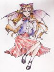 1girl bat_wings blonde_hair colored elis_(touhou) facepaint long_hair shoes solo star touhou touhou_(pc-98) traditional wings