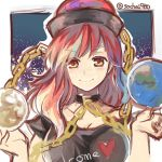 1girl chain collarbone earth heart hecatia_lapislazuli red_eyes redhead sketch socha solo touhou