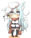 1girl animal_ears blush chibi dog_ears dog_tail flat_cap grey_eyes hand_on_headwear hat hibiki_(kantai_collection) kantai_collection kemonomimi_mode long_hair looking_at_viewer nonono_(mino) scarf school_uniform silver_hair skirt solo tail thigh-highs verniy_(kantai_collection) very_long_hair
