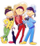 3boys 720_72 arm_around_shoulder arm_behind_back black_hair bowtie brothers disney donald_duck donald_duck_(cosplay) donald_duck_sailor_hat gloves hand_on_hip hat holster index_finger_raised jose_carioca jose_carioca_(cosplay) matsuno_choromatsu matsuno_karamatsu matsuno_osomatsu multiple_boys osomatsu-kun osomatsu-san panchito_pistoles panchito_pistoles_(cosplay) siblings simple_background single_vertical_stripe smile sombrero umbrella white_background white_gloves