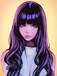 1girl highres ilya_kuvshinov long_hair looking_at_viewer original purple_hair simple_background solo violet_eyes yellow_background