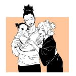 1girl 2boys black_hair family father_and_son heise_wanbaolu husband_and_wife japanese_clothes jewelry long_hair monochrome mother_and_son multiple_boys nara_shikadai nara_shikamaru naruto ponytail ring smile temari