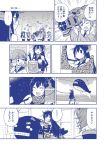 akashi_(kantai_collection) akatsuki_(kantai_collection) akitsushima_(kantai_collection) bucket comic elbow_gloves fingerless_gloves fishing fur_collar gloves harunatsu_akito headgear hibiki_(kantai_collection) highres i-class_destroyer ikazuchi_(kantai_collection) inazuma_(kantai_collection) japanese_clothes kantai_collection kimono kuchiku_i-kyuu monochrome mutsu_(kantai_collection) nagato_(kantai_collection) nishikitaitei-chan paintbrush scarf shinkaisei-kan shishimai solid_circle_eyes sweat tears translation_request tree