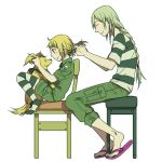 androgynous blonde_hair boots braid chair character_request child dien_bien_phu_(manga) dog ha.skr_(hasukara) hairdressing long_hair military military_uniform shorts sitting size_difference slippers uniform
