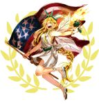 1girl ahoge alternate_costume american_flag bangs bracelet braid breasts clownpiece dress full_body fuuga_(perv_rsity) hair_between_eyes hair_over_one_eye hair_tie jewelry leg_up legs long_hair looking_at_viewer nail_polish open_mouth platform_footwear red_eyes red_nails shiny shiny_hair shoes short_dress sidelocks single_braid smile solo statue_of_liberty statue_of_liberty_(cosplay) teeth tongue torch touhou very_long_hair white_dress white_shoes wings