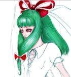 1girl green_eyes green_hair hair_ribbon kagiyama_hina long_hair mountain_of_faith rough sad sketch solo tears touhou