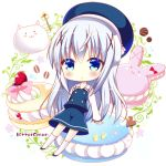 1girl bitter_crown blue_eyes blue_hair chibi gochuumon_wa_usagi_desu_ka? hair_ornament hairclip hat kafuu_chino long_hair lowres tippy_(gochuumon_wa_usagi_desuka?) x_hair_ornament