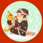 1boy animal black_santa_costume cat esper_nyanko glasses hat jitome looking_at_another matsuno_ichimatsu osomatsu-kun osomatsu-san santa_costume santa_hat smile