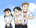 1girl 2boys ;d bag belt black_eyes black_hair blue_sky collared_shirt crossed_arms doraemon facial_mark freckles glasses grin hair_ribbon hands_together head_tilt holding kawabuchi_sentarou looking_up low_twintails mukae_ritsuko multiple_boys nishimi_kaoru one_eye_closed open_mouth parody ribbon sakamichi_no_apollon scar school_bag shirt short_sleeves short_twintails sky smile standing striped striped_shirt style_parody teeth twintails v_arms white_shirt