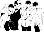 4boys :< arm_around_shoulder bangs bespectacled black_hair bowtie brothers constricted_pupils crossed_arms durarara!! fukuyama_jun glasses hands_in_pockets heiwajima_shizuo heiwajima_shizuo_(cosplay) kadota_kyouhei kadota_kyouhei_(cosplay) kamiya_hiroshi kishitani_shinra kishitani_shinra_(cosplay) labcoat male_focus matsuno_choromatsu matsuno_ichimatsu matsuno_juushimatsu matsuno_karamatsu multiple_boys nakamura_yuuichi ono_daisuke orihara_izaya orihara_izaya_(cosplay) osomatsu-kun osomatsu-san salute seiyuu_connection siblings sketch sleeves_rolled_up smile sunglasses swept_bangs waiter white_background