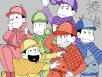 6+boys :< ;3 adjusting_clothes adjusting_hat black_hair brothers cellphone deerstalker detective hat heart heart_in_mouth highres jitome looking_at_viewer magnifying_glass male_focus matsuno_choromatsu matsuno_ichimatsu matsuno_juushimatsu matsuno_karamatsu matsuno_osomatsu matsuno_todomatsu multiple_boys osomatsu-kun osomatsu-san phone sextuplets siblings sitting sitting_on_person smartphone